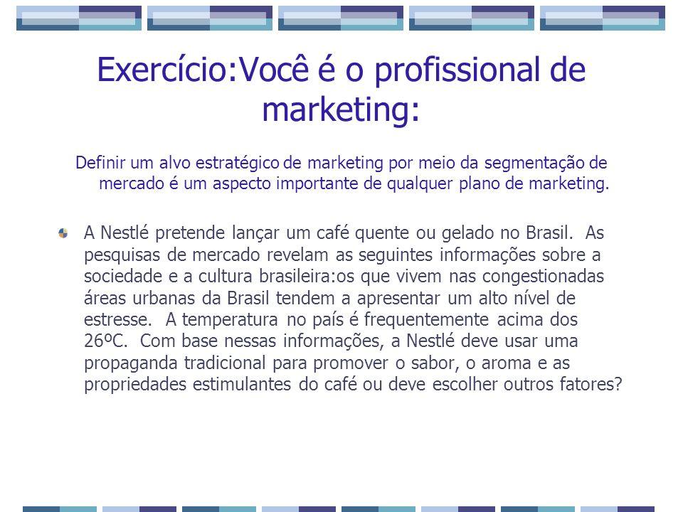 Exercício:Você é o profissional de marketing: