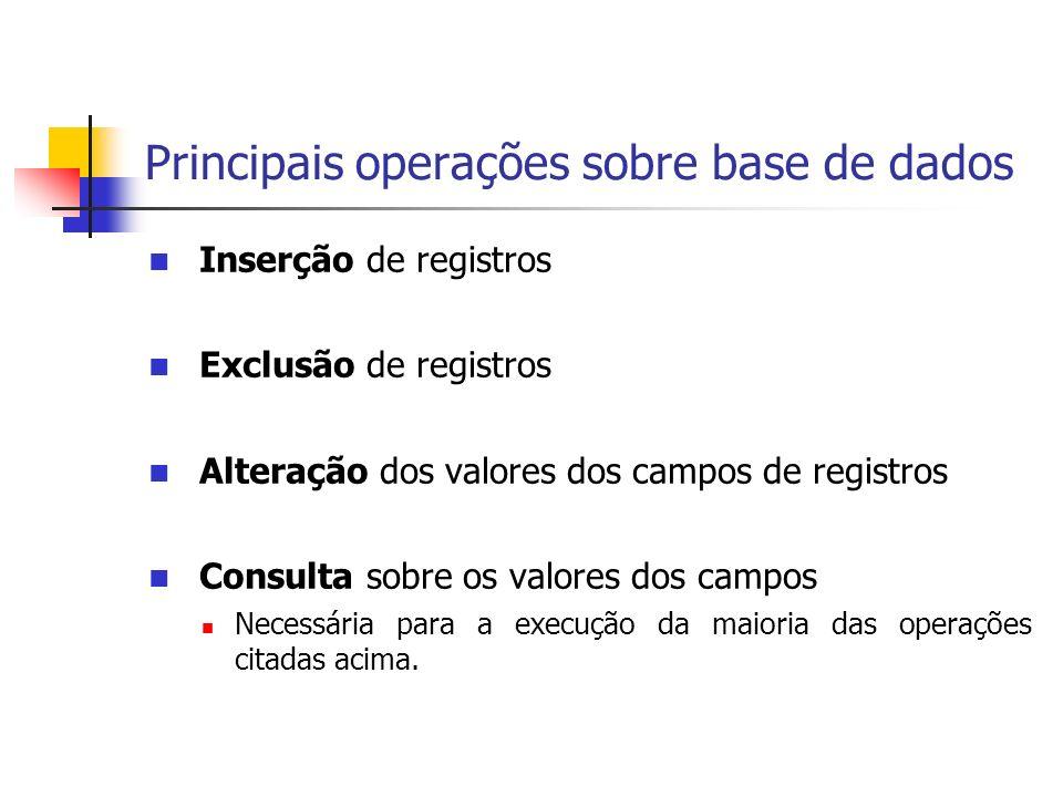 Principais operações sobre base de dados