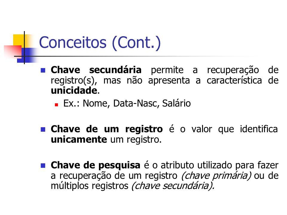 Conceitos (Cont.) Chave secundária permite a recuperação de registro(s), mas não apresenta a característica de unicidade.