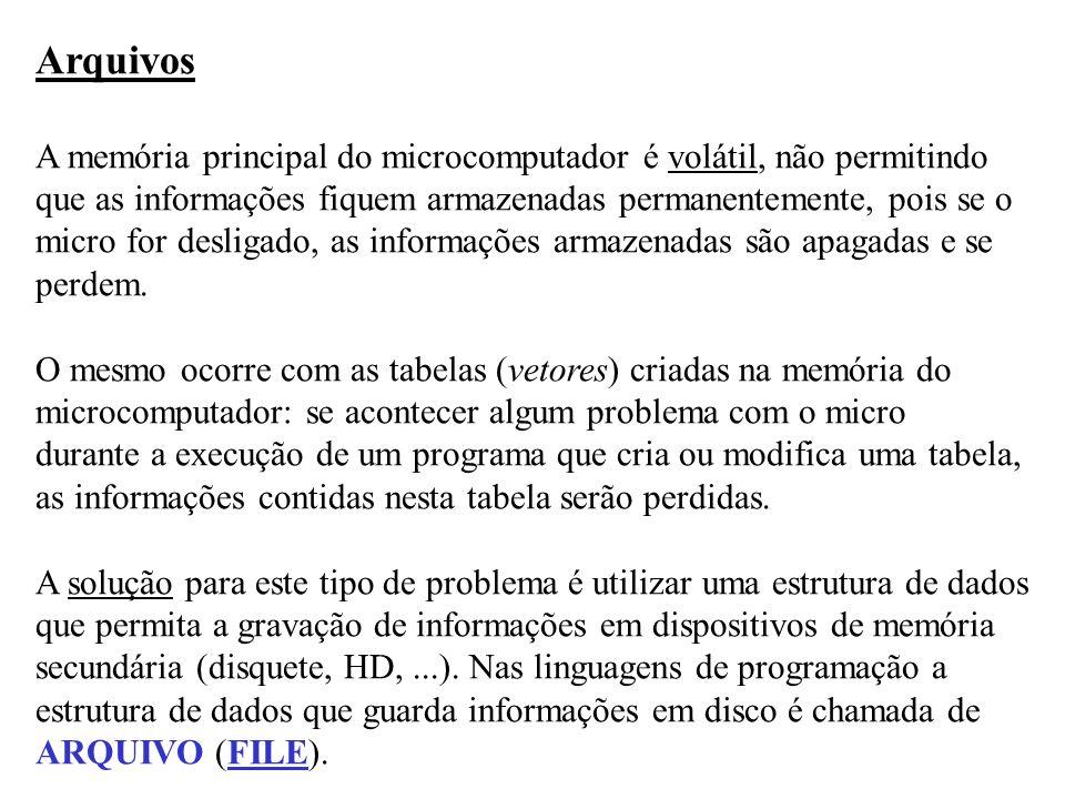Arquivos A memória principal do microcomputador é volátil, não permitindo. que as informações fiquem armazenadas permanentemente, pois se o.
