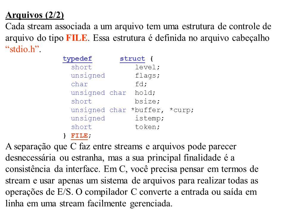Cada stream associada a um arquivo tem uma estrutura de controle de