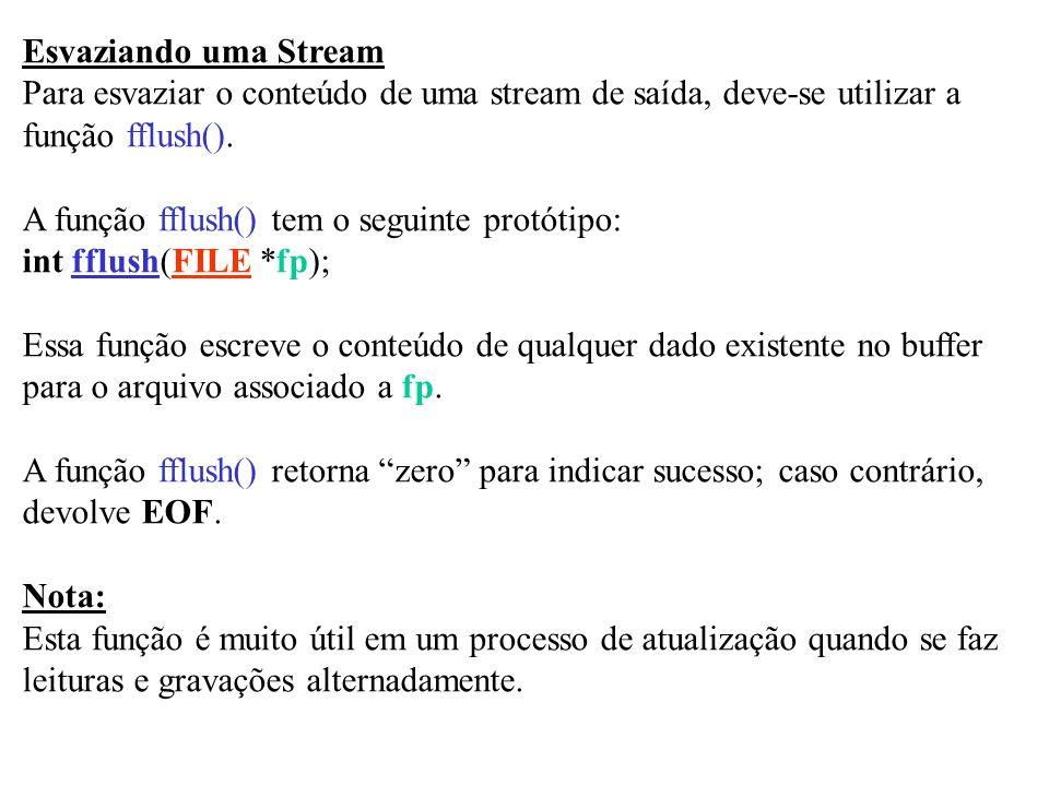 Esvaziando uma Stream Para esvaziar o conteúdo de uma stream de saída, deve-se utilizar a. função fflush().