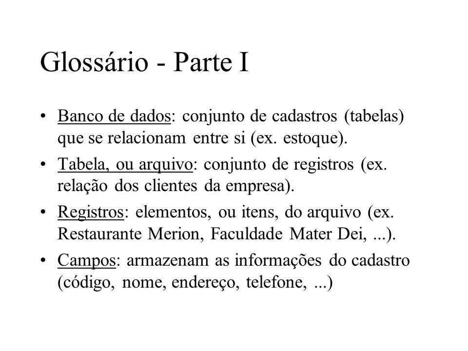 Glossário - Parte I Banco de dados: conjunto de cadastros (tabelas) que se relacionam entre si (ex. estoque).