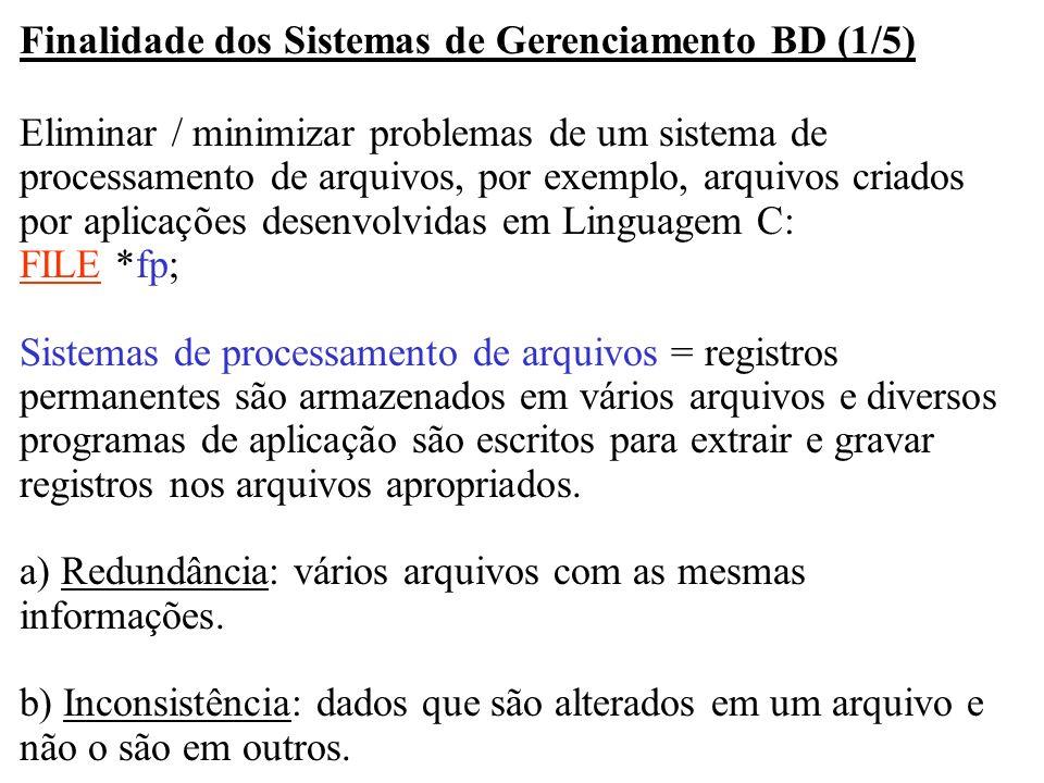 Finalidade dos Sistemas de Gerenciamento BD (1/5)