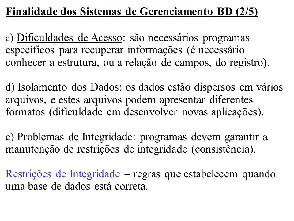 Finalidade dos Sistemas de Gerenciamento BD (2/5)