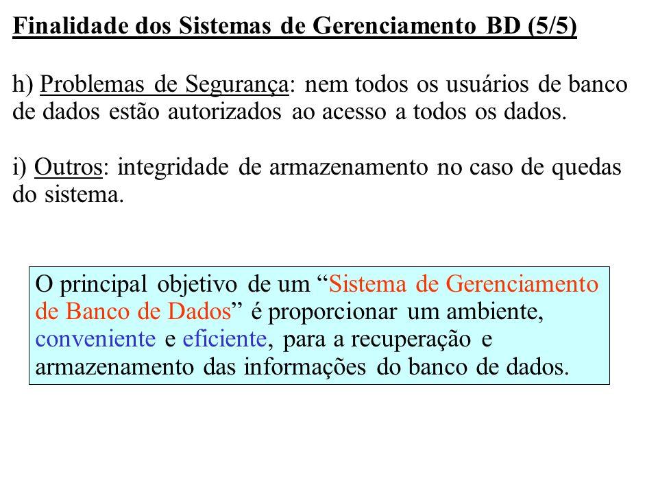 Finalidade dos Sistemas de Gerenciamento BD (5/5)