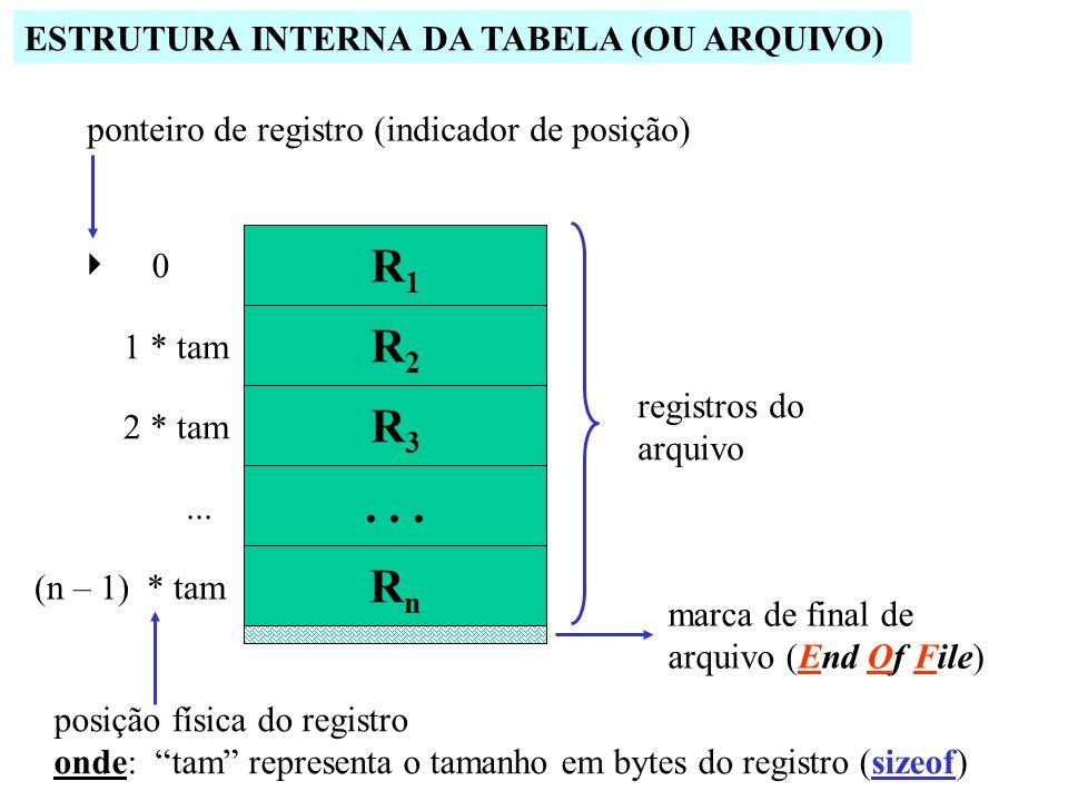 R1 R2 R3 . . . Rn ESTRUTURA INTERNA DA TABELA (OU ARQUIVO)