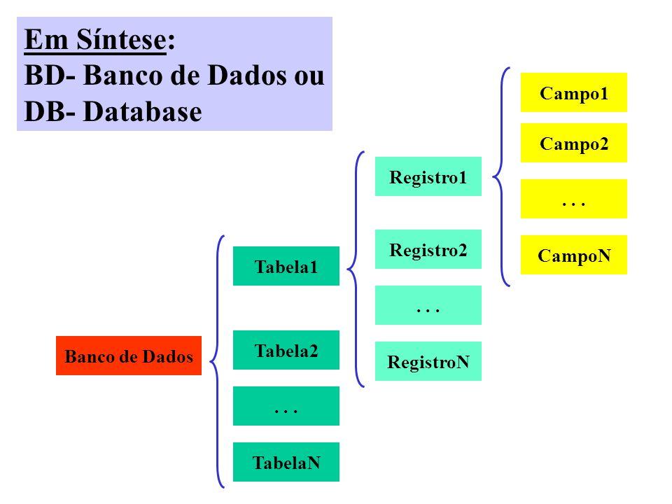 Em Síntese: BD- Banco de Dados ou DB- Database Campo1 Campo2 Registro1