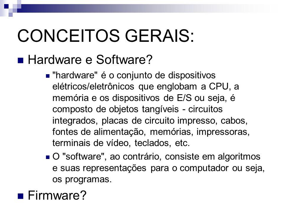 CONCEITOS GERAIS: Hardware e Software Firmware
