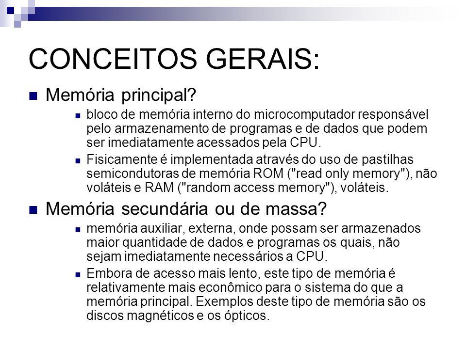 CONCEITOS GERAIS: Memória principal Memória secundária ou de massa