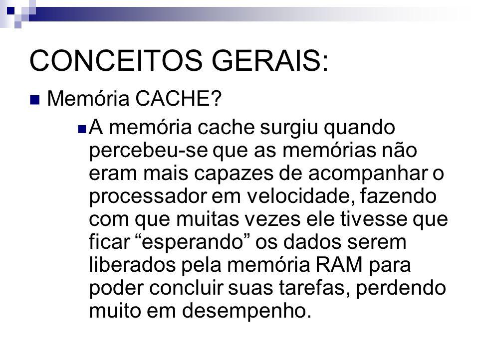 CONCEITOS GERAIS: Memória CACHE