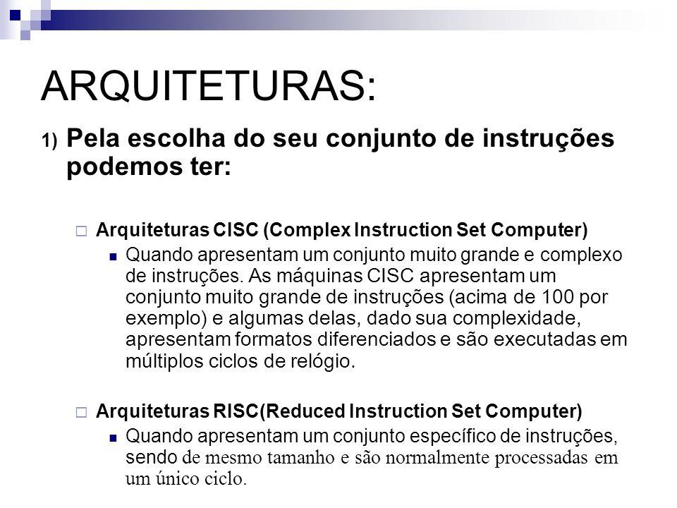 ARQUITETURAS: 1) Pela escolha do seu conjunto de instruções podemos ter: Arquiteturas CISC (Complex Instruction Set Computer)