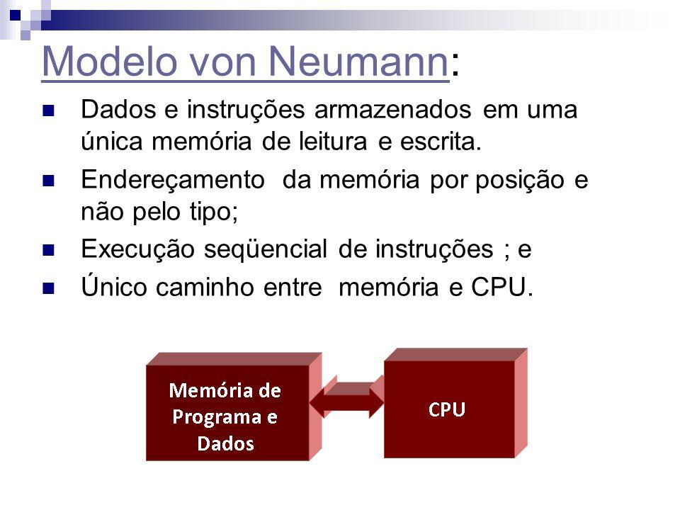 Modelo von Neumann: Dados e instruções armazenados em uma única memória de leitura e escrita. Endereçamento da memória por posição e não pelo tipo;