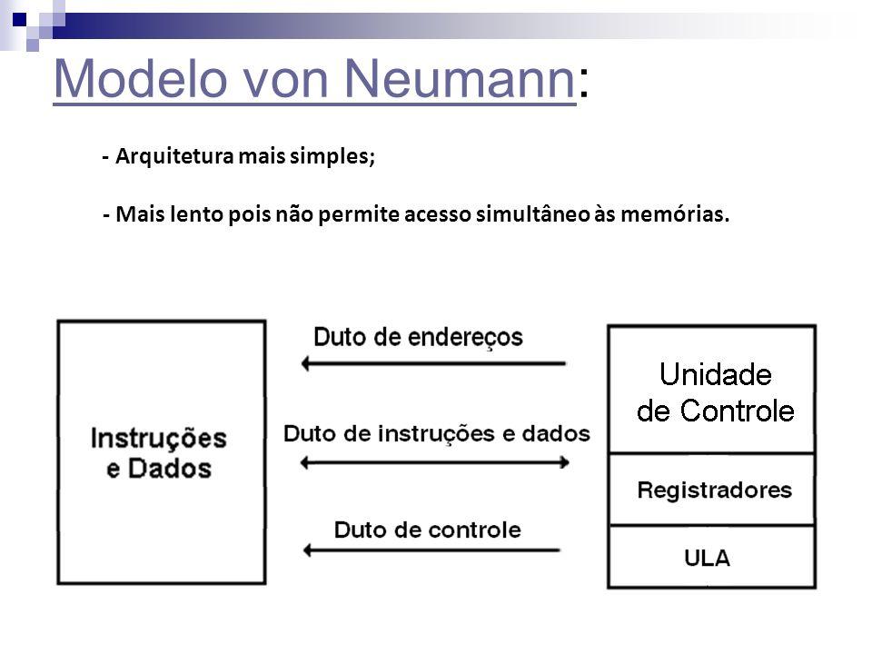 Modelo von Neumann: - Arquitetura mais simples; - Mais lento pois não permite acesso simultâneo às memórias.