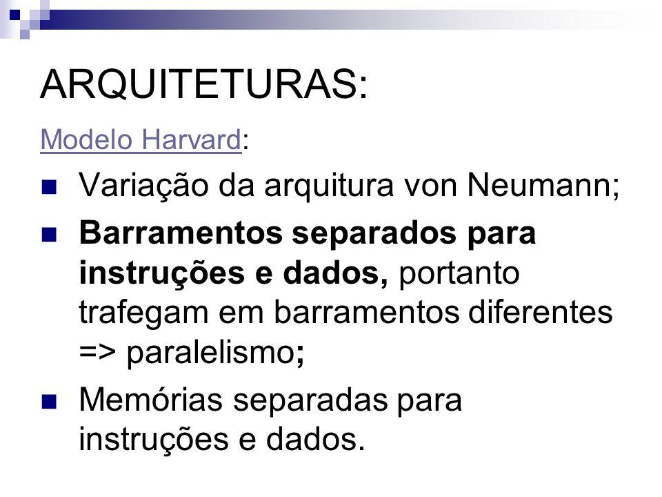 ARQUITETURAS: Variação da arquitura von Neumann;