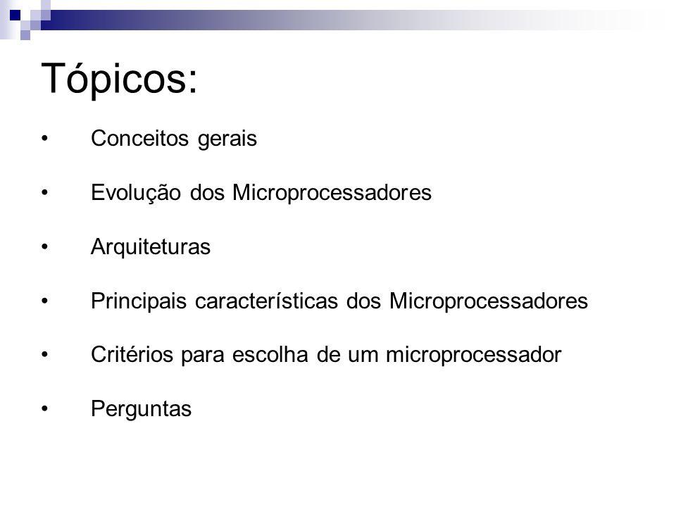 Tópicos: Conceitos gerais Evolução dos Microprocessadores Arquiteturas