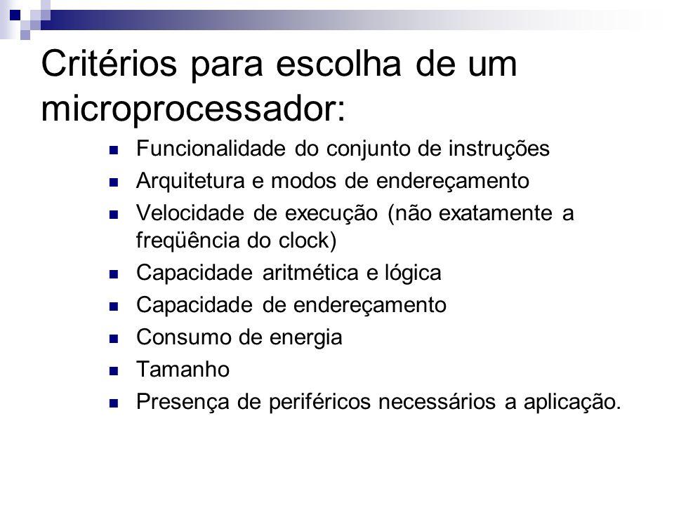 Critérios para escolha de um microprocessador: