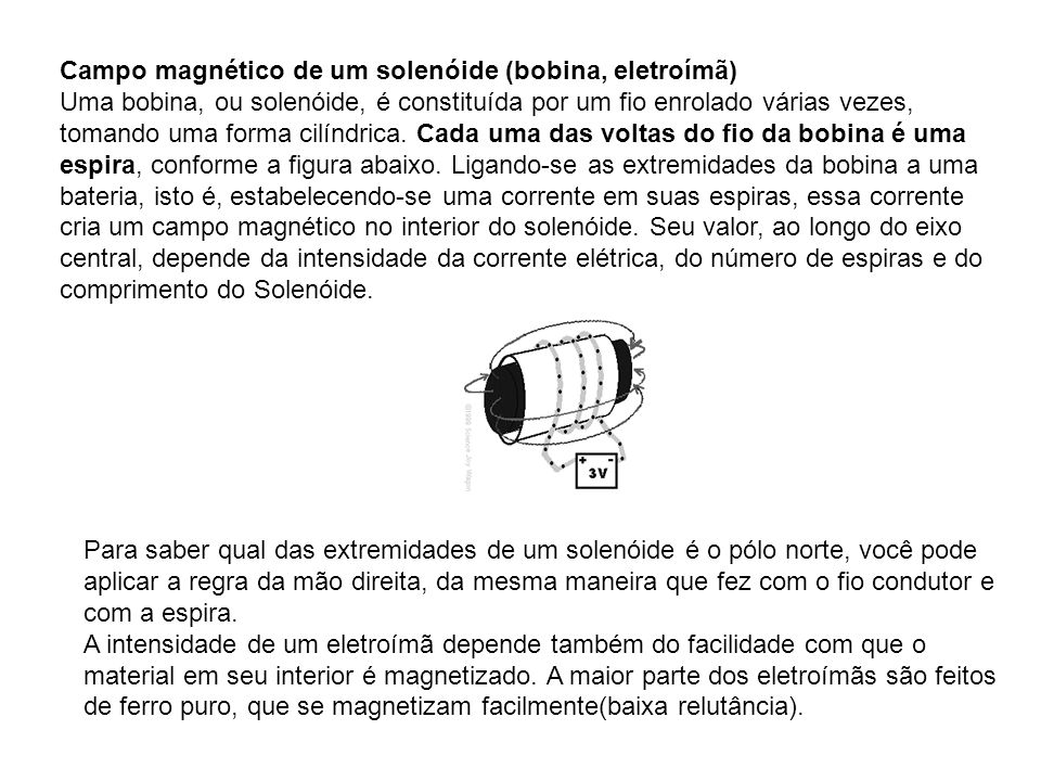 Campo magnético de um solenóide (bobina, eletroímã)