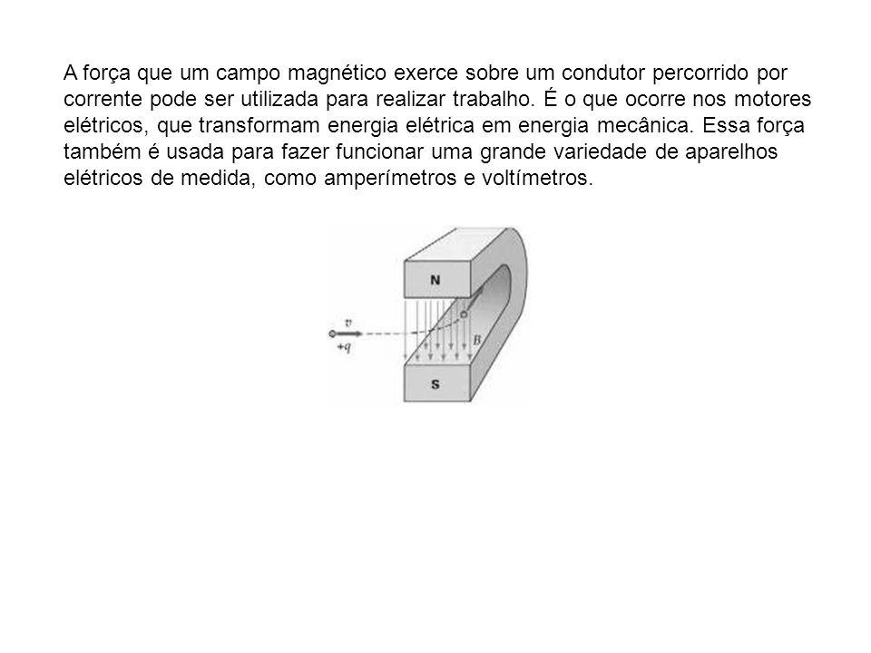 A força que um campo magnético exerce sobre um condutor percorrido por corrente pode ser utilizada para realizar trabalho.