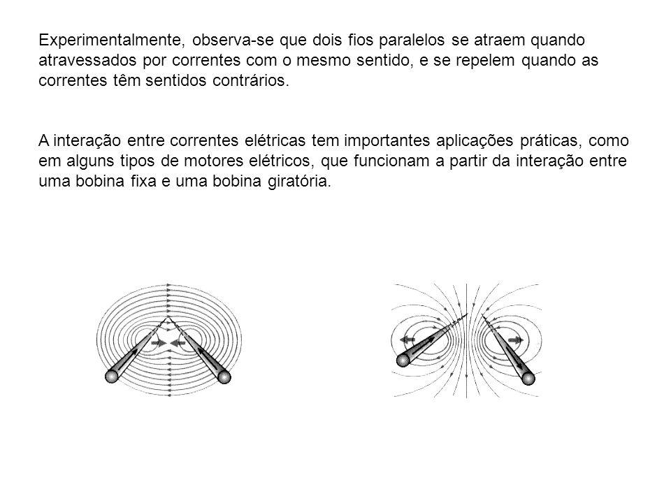 Experimentalmente, observa-se que dois fios paralelos se atraem quando atravessados por correntes com o mesmo sentido, e se repelem quando as correntes têm sentidos contrários.