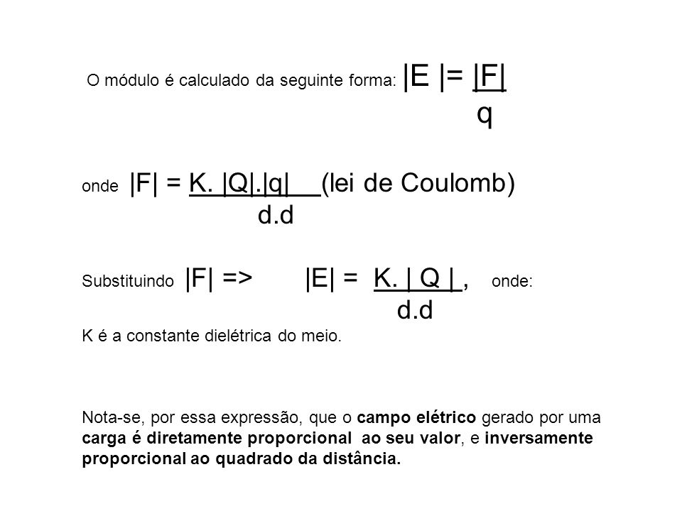 q d.d O módulo é calculado da seguinte forma: |E |= |F|