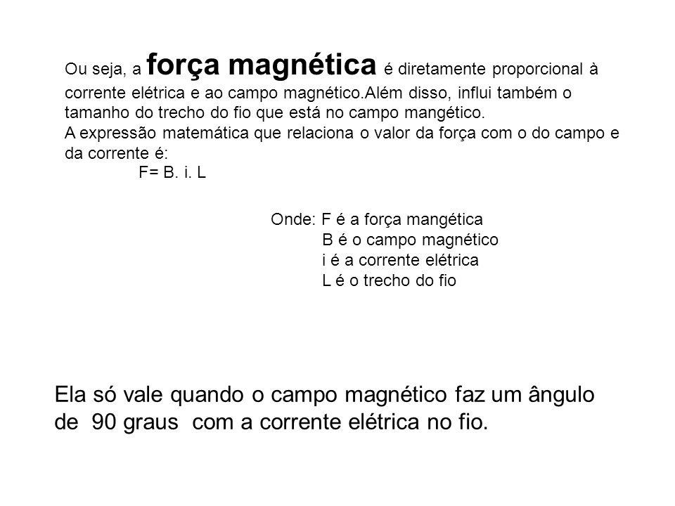 Ou seja, a força magnética é diretamente proporcional à corrente elétrica e ao campo magnético.Além disso, influi também o tamanho do trecho do fio que está no campo mangético.