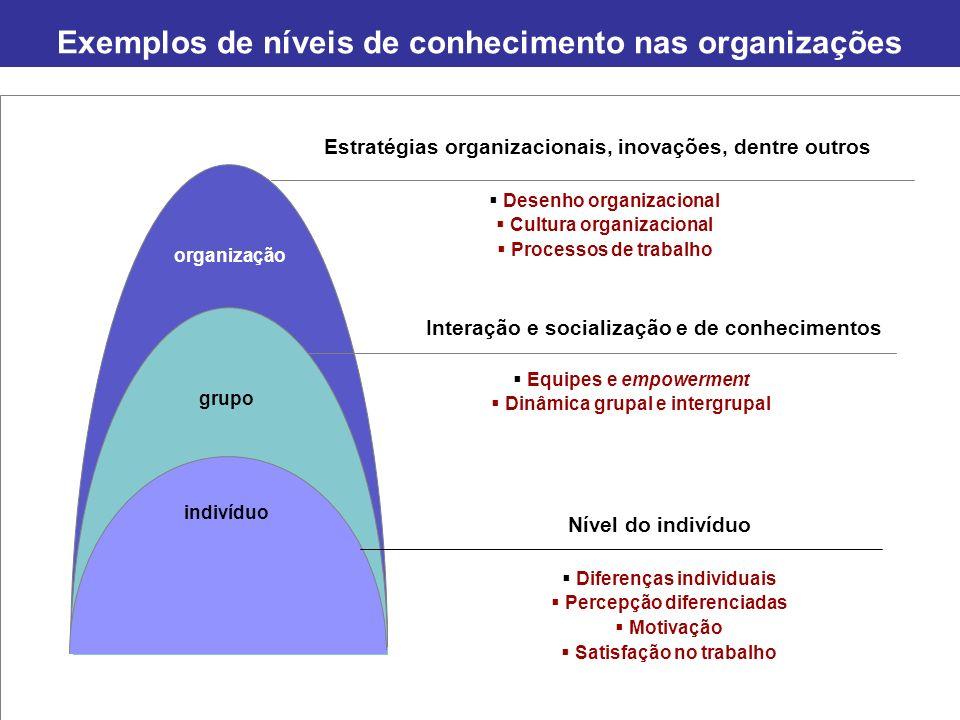 Exemplos de níveis de conhecimento nas organizações