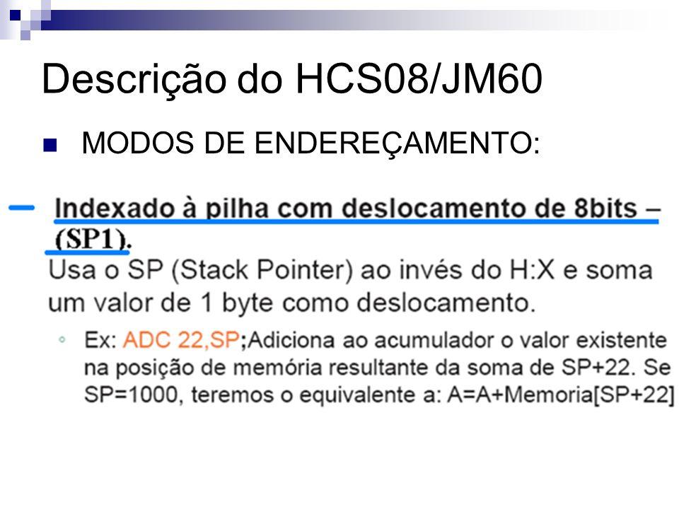Descrição do HCS08/JM60 MODOS DE ENDEREÇAMENTO: