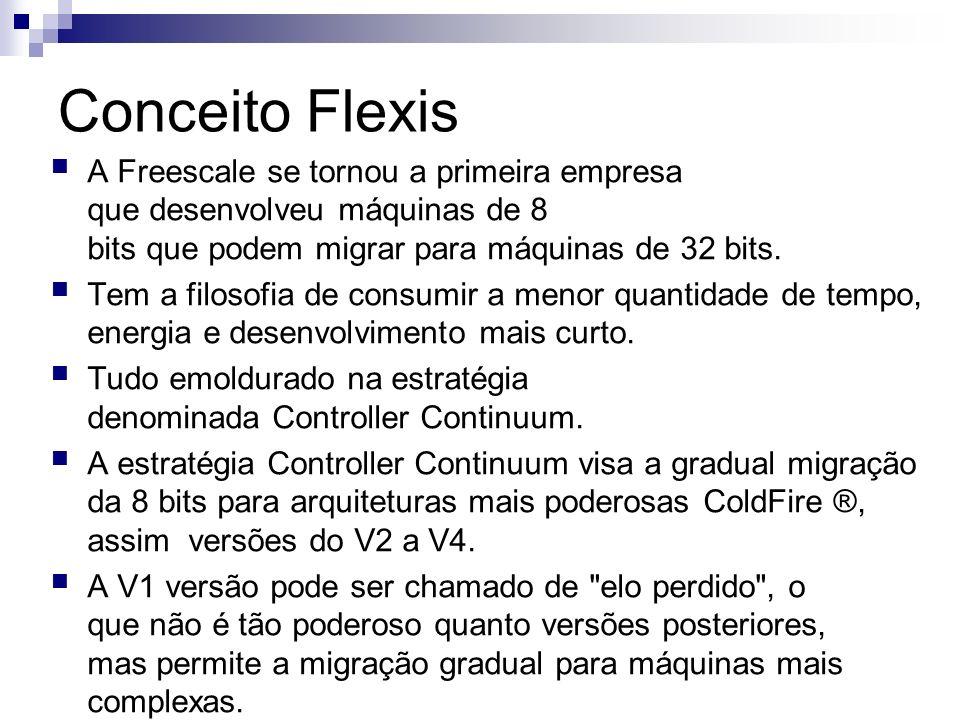 Conceito Flexis A Freescale se tornou a primeira empresa que desenvolveu máquinas de 8 bits que podem migrar para máquinas de 32 bits.