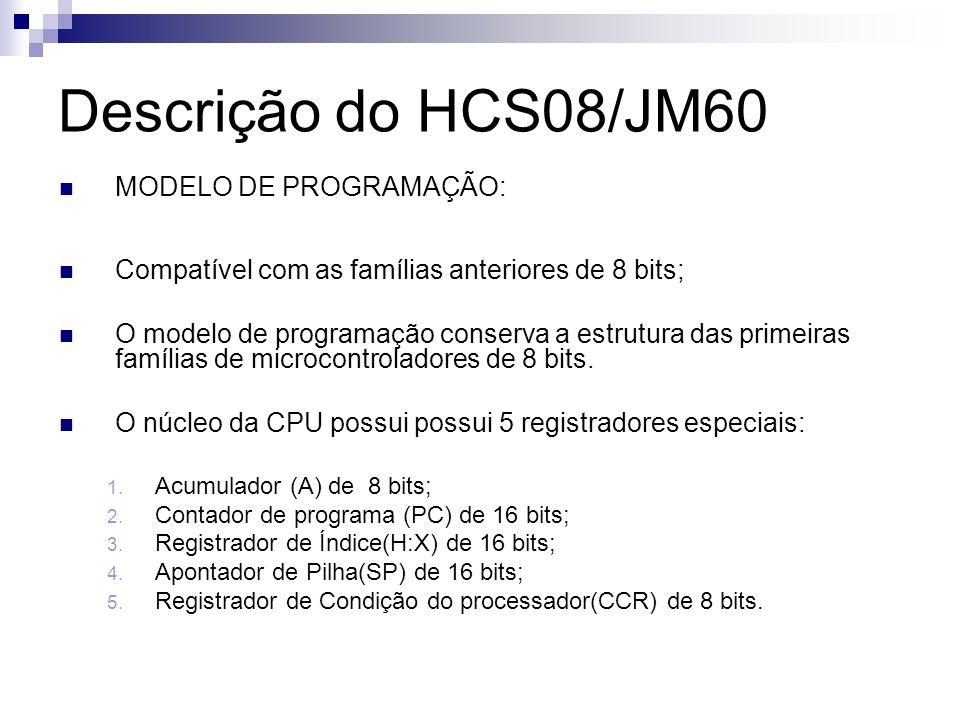 Descrição do HCS08/JM60 MODELO DE PROGRAMAÇÃO:
