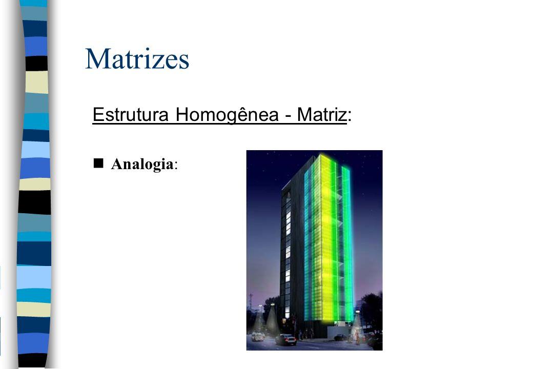Matrizes Estrutura Homogênea - Matriz: Analogia: