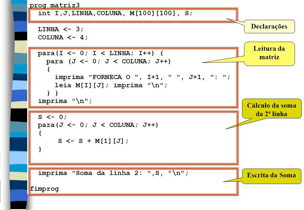 Cálculo da soma da 2ª linha