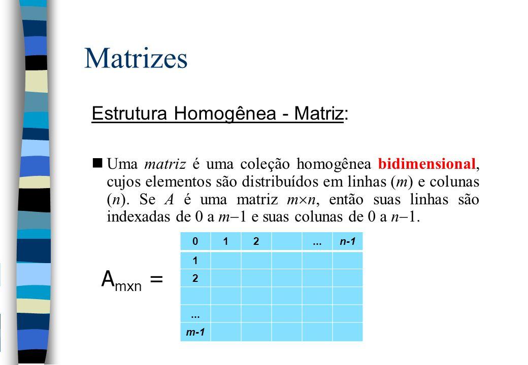 Matrizes Amxn = Estrutura Homogênea - Matriz: