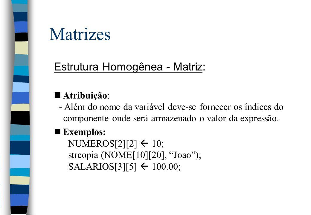 Matrizes Estrutura Homogênea - Matriz: Atribuição: