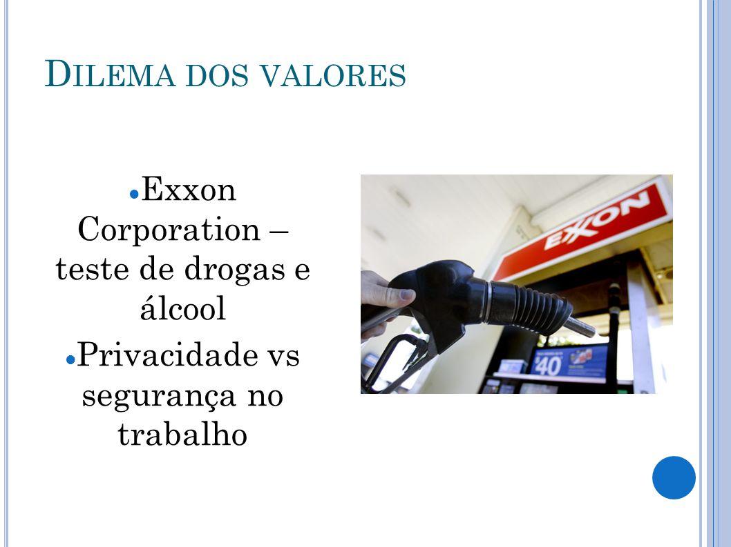 Dilema dos valores Exxon Corporation – teste de drogas e álcool