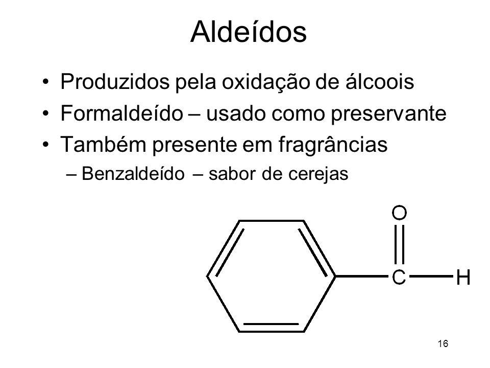 Aldeídos Produzidos pela oxidação de álcoois