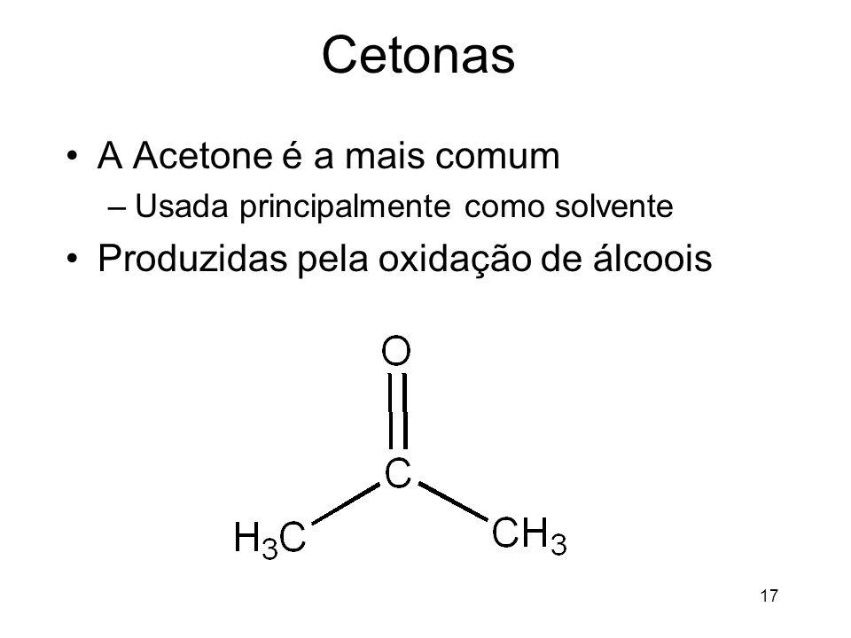 Cetonas A Acetone é a mais comum Produzidas pela oxidação de álcoois