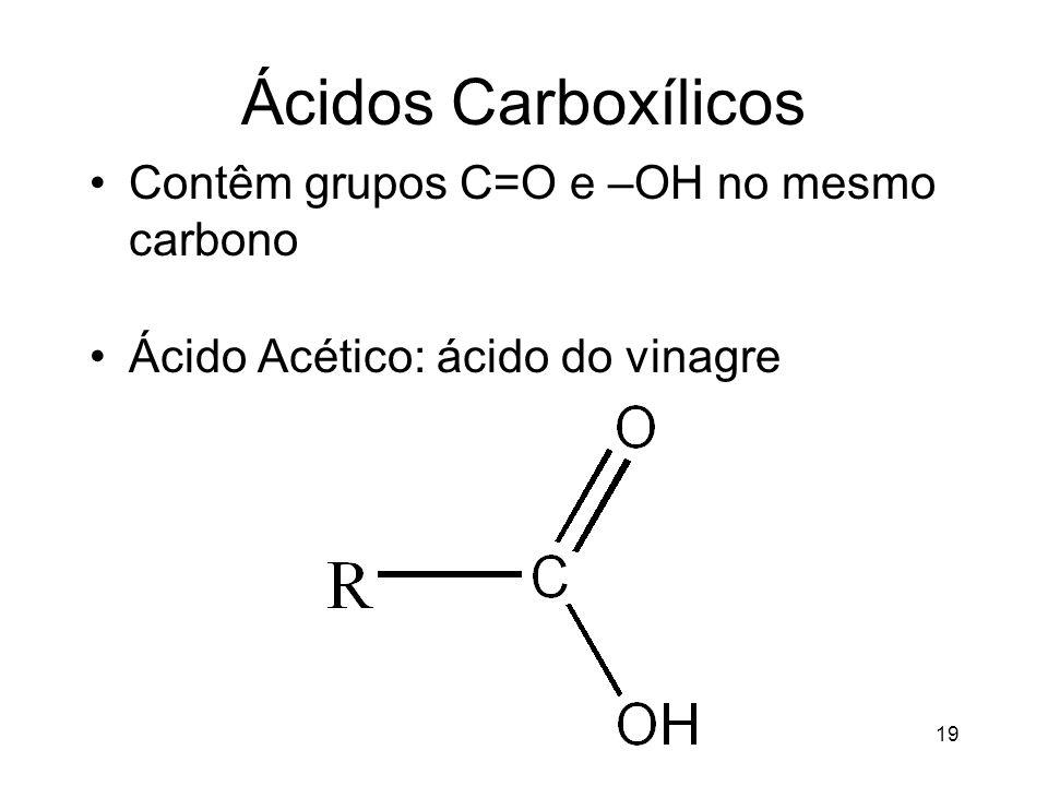 Ácidos Carboxílicos Contêm grupos C=O e –OH no mesmo carbono