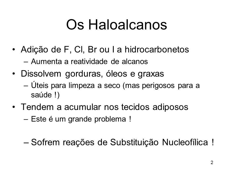 Os Haloalcanos Adição de F, Cl, Br ou I a hidrocarbonetos