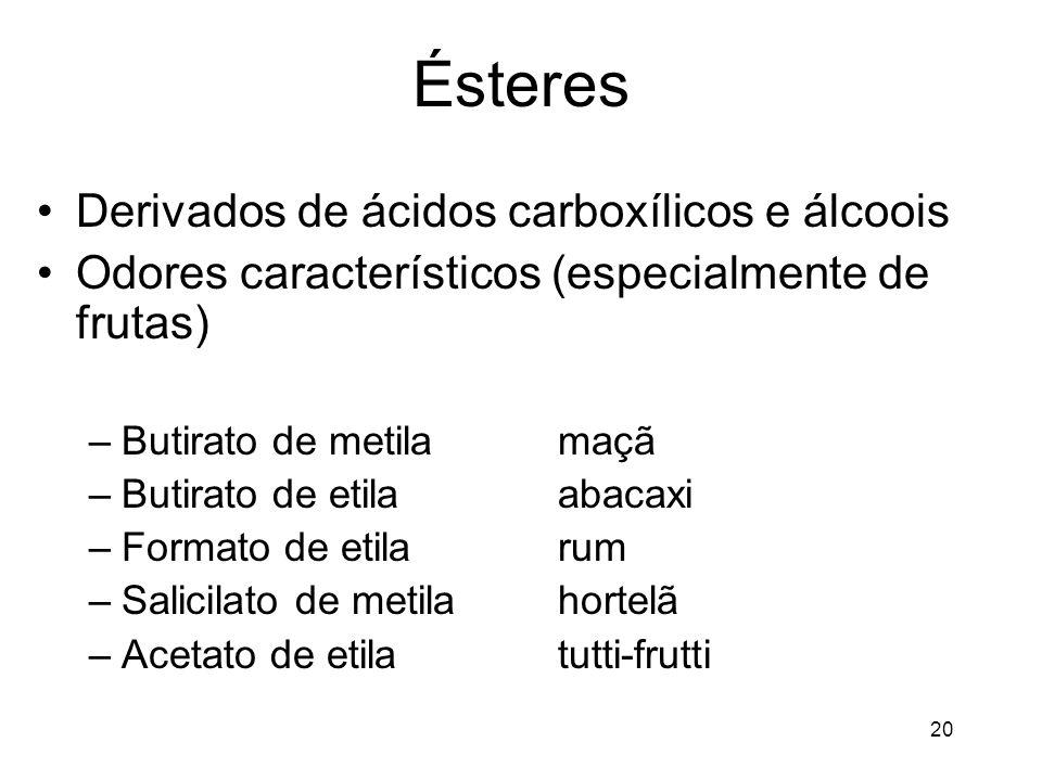 Ésteres Derivados de ácidos carboxílicos e álcoois