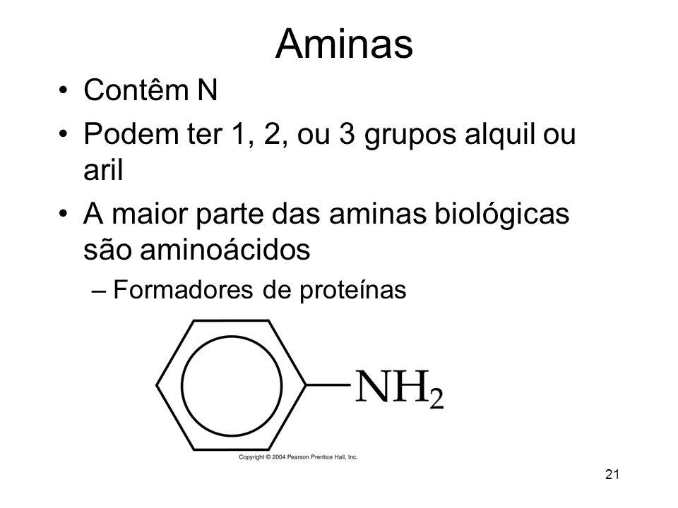 Aminas Contêm N Podem ter 1, 2, ou 3 grupos alquil ou aril