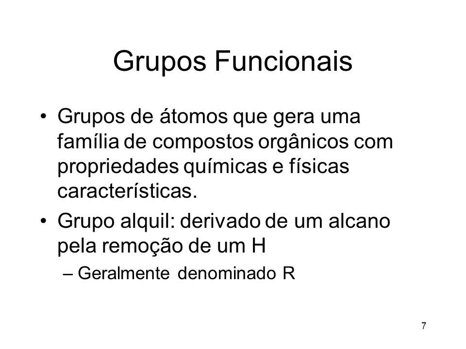 Grupos Funcionais Grupos de átomos que gera uma família de compostos orgânicos com propriedades químicas e físicas características.