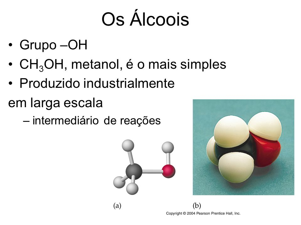 Os Álcoois Grupo –OH CH3OH, metanol, é o mais simples