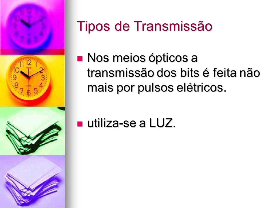Tipos de Transmissão Nos meios ópticos a transmissão dos bits é feita não mais por pulsos elétricos.