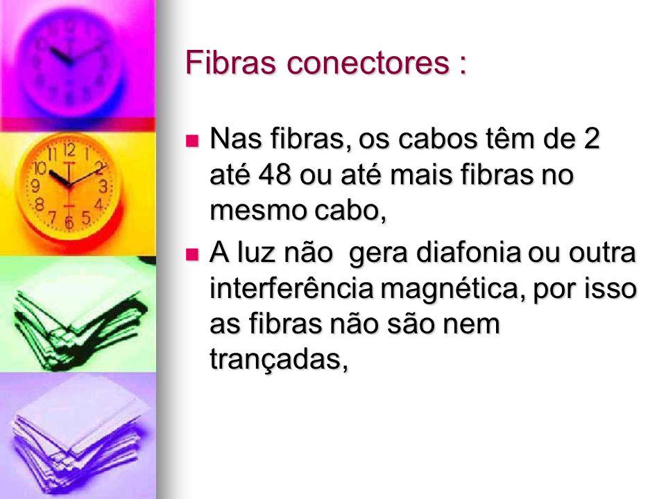 Fibras conectores :Nas fibras, os cabos têm de 2 até 48 ou até mais fibras no mesmo cabo,
