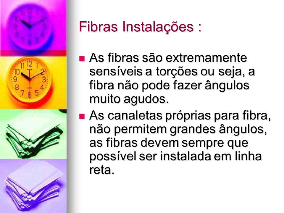 Fibras Instalações :As fibras são extremamente sensíveis a torções ou seja, a fibra não pode fazer ângulos muito agudos.