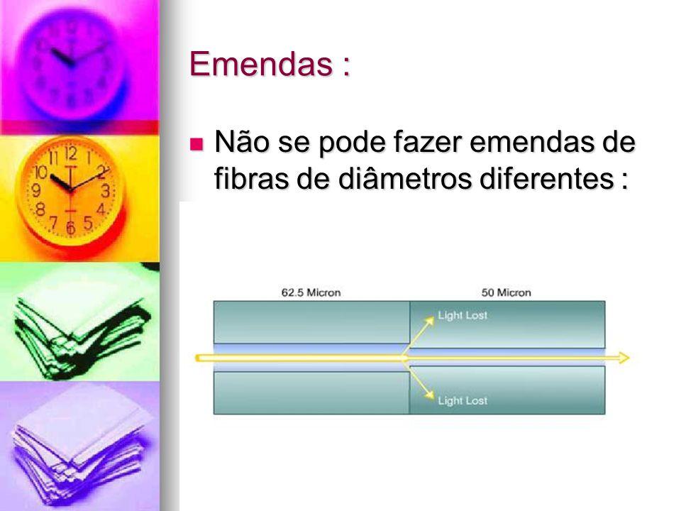 Emendas : Não se pode fazer emendas de fibras de diâmetros diferentes :