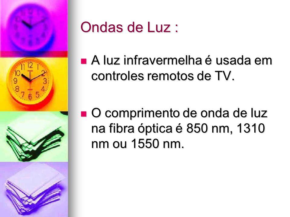 Ondas de Luz : A luz infravermelha é usada em controles remotos de TV.