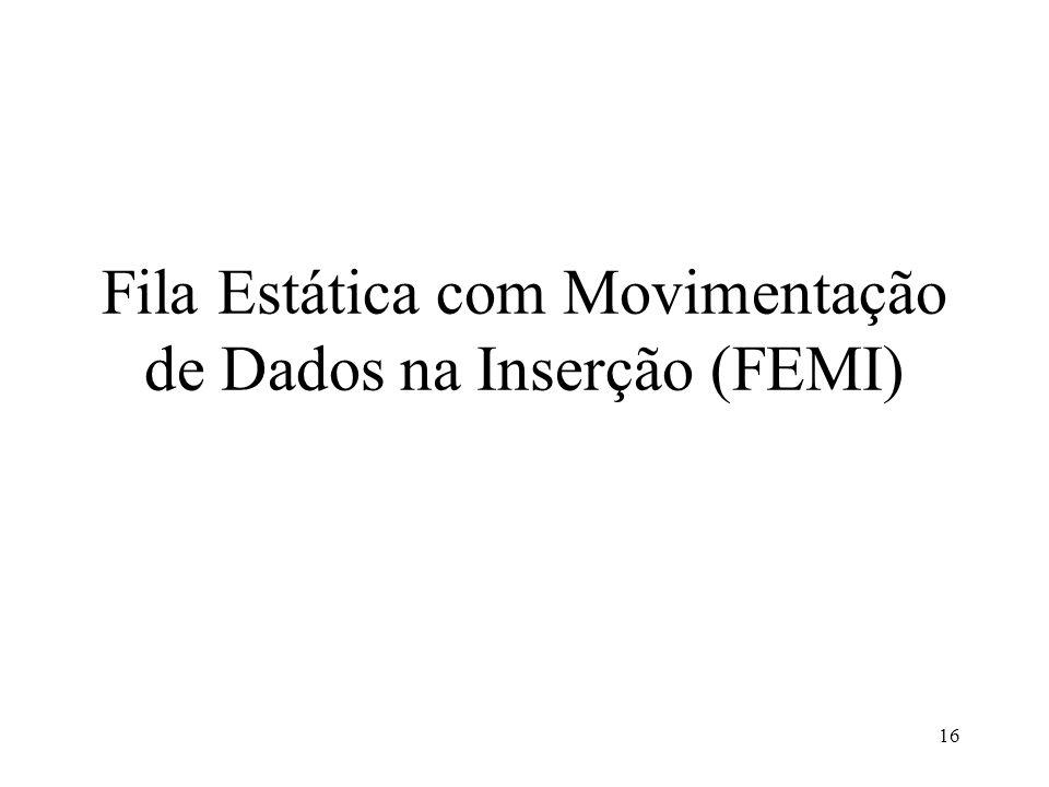 Fila Estática com Movimentação de Dados na Inserção (FEMI)