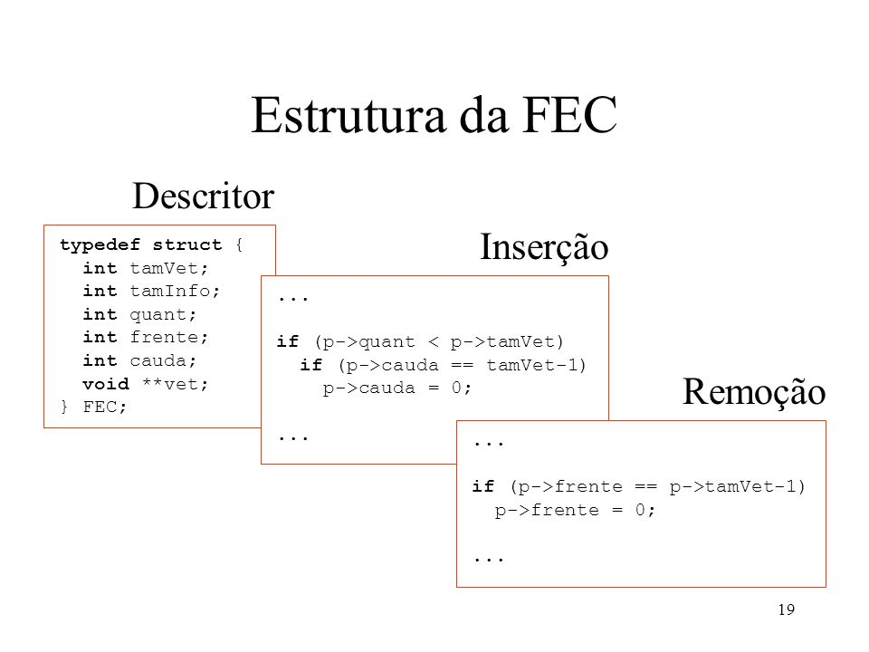 Estrutura da FEC Descritor Inserção Remoção typedef struct {